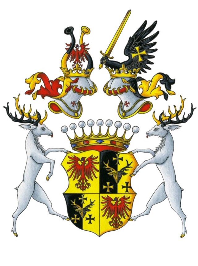 The Ettendorf-ReBrook coat of arms. Art by Mr. Laurent Granier, my very favourite Herald and a true gentleman.