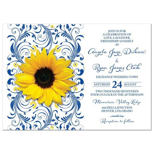 Floral royal blue and yellow sunflower wedding invitation. This yellow sunflower wedding invitation features a yellow sunflower situated over a royal blue and yellow elegant floral scroll accent.