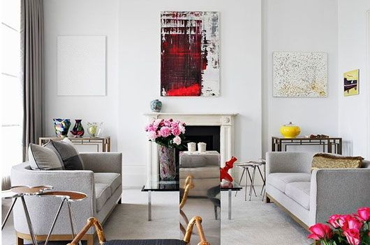 via sfgirlbybay: Grey Couch, Modern Art, White Lounges, Abstract Art, Lounges Rooms, Grey Living Rooms, Art Pop, Mantles Art, White Wall