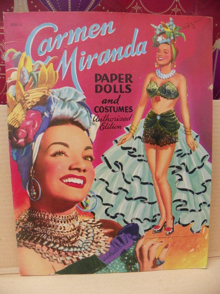 Vintage Carmen Miranda Paper Dolls and Costumes UNCUT , Original Saalfield 1950's Paper Doll Book , Saalfield 1952 Carmen Miranda Doll Book by ShersBears on Etsy