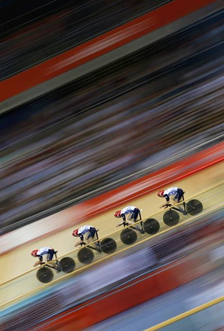 Britain's mens team pursuit team take part in qualifying at the Velodrome