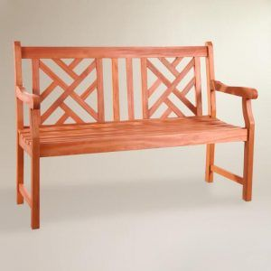 Small Eucalyptus Wood Mady Outdoor Bench - chippendale bench - Great deals to be found at Cost Plus World Market for Memorial Day Weekend!  Save 15% & Get FREE Shipping! Tons of outdoor decor & Furniture on sale!