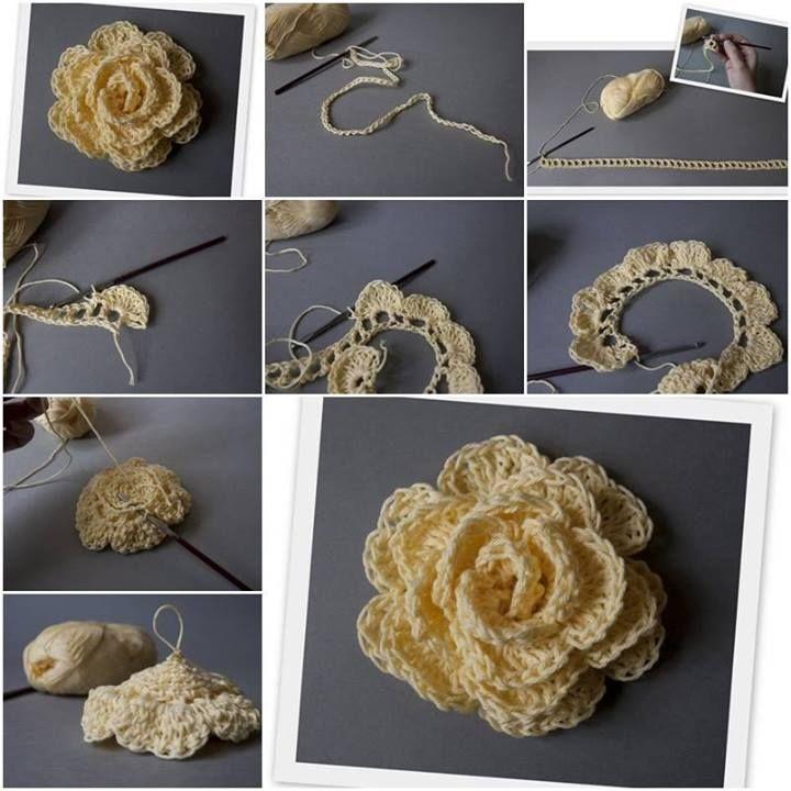 D.I.Y. crochet flower, crochet pattern - thanks, @Kathryn Whiteside Dudley