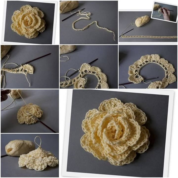 D.I.Y. crochet flower, crochet pattern - thanks, @Kathryn Whiteside Whiteside…
