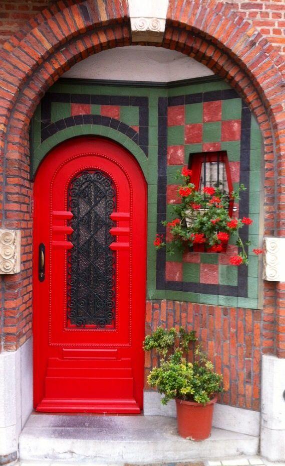 Beautiful red door and unique side window