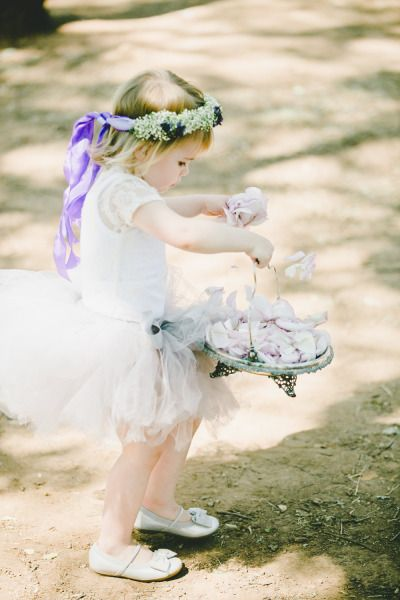 Precious flower girl: http://www.stylemepretty.com/2014/10/29/vintage-chic-winery-wedding-with-pops-of-purple/ | Photography: Onelove - http://www.onelove-photo.com/