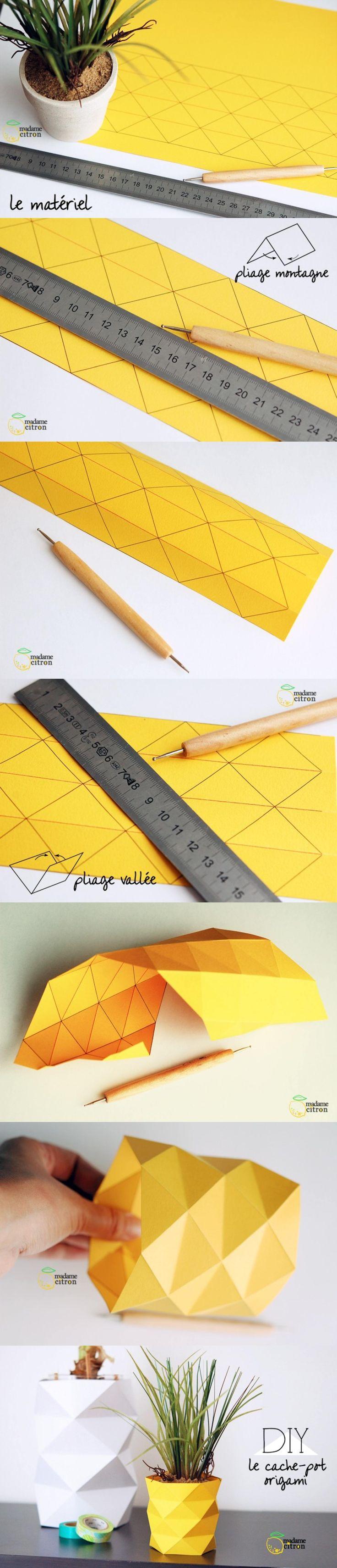 decorar maceta origami DIY muy ingenioso 2