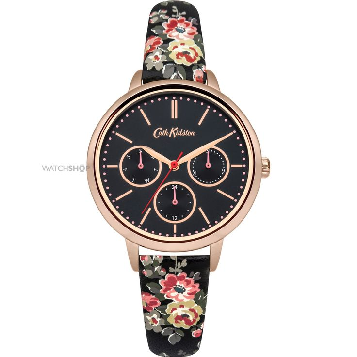 Ladies Cath Kidston Kingswood Rose Charcoal Strap Multifunction Watch CKL003BRG