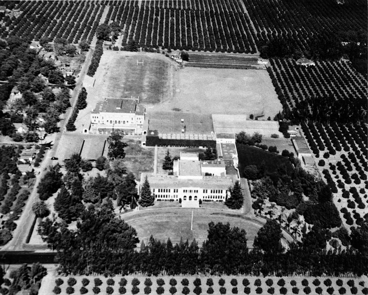 Aerial photograph of Tustin Union High School campus, Tustin, California, 1947.