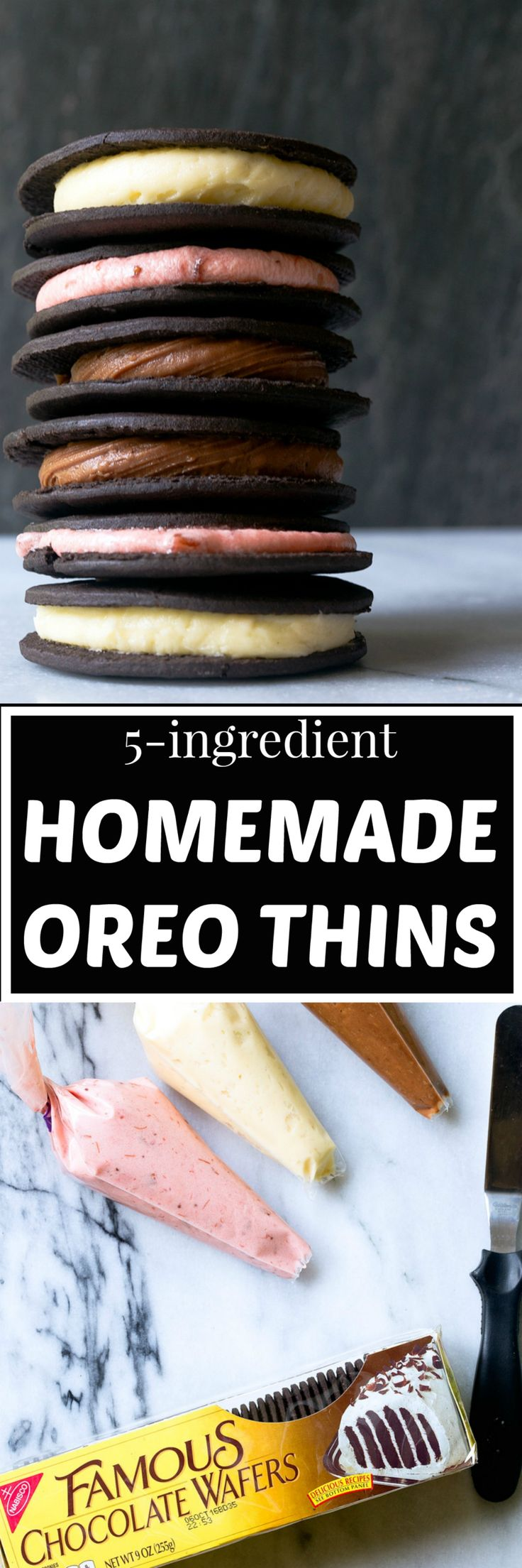 Easy homemade oreos that taste just like Oreo Thins using store-bought chocolate wafer cookies! Make your favorite buttercream (or make all 3!). Small batch dessert: each flavor makes just 10 cookies. @DessertForTwo