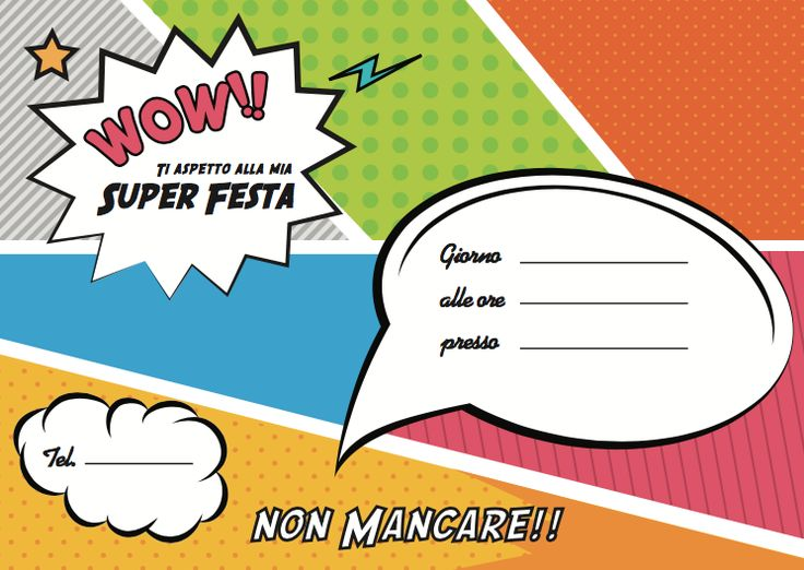 Biglietto d'invito per Super Eroine – Idea Party