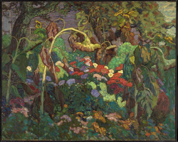 """The Tangled Garden,"" J.E.H. MacDonald, 1916, oil on beaverboard, 48 x 60"", National Gallery of Canada."