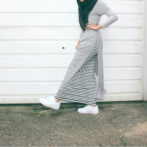 fashion, hijab, and grey image