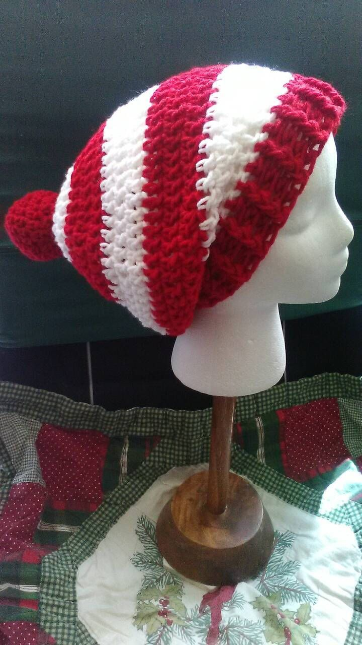 Red and White Crochet Slouchy Beanie, Where's Waldo, Christmas Crochet Hat, Crochet Hats, Red and White Stripes, Ready to Ship, B85-17-0828 by NoreensCrochetShop on Etsy