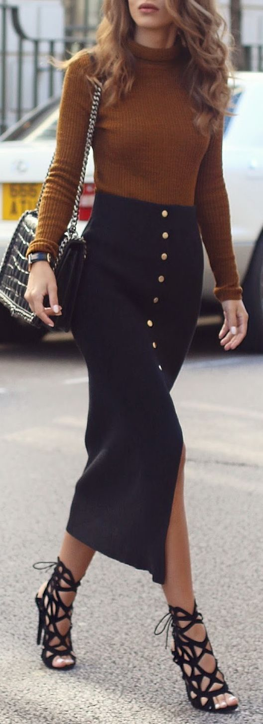 Brown knit sweater with button-front maxi skirt and strappy heels. | Street Style