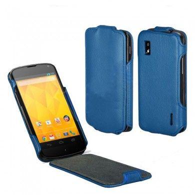 Forro Google Nexus 4 - con Tapa - Cuero Azul