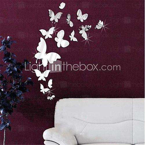 Mirror Wall Stickers Wall Decals, DIY 14PCS Butterfly Mirror Acrylic Wall Stickers - USD $9.99