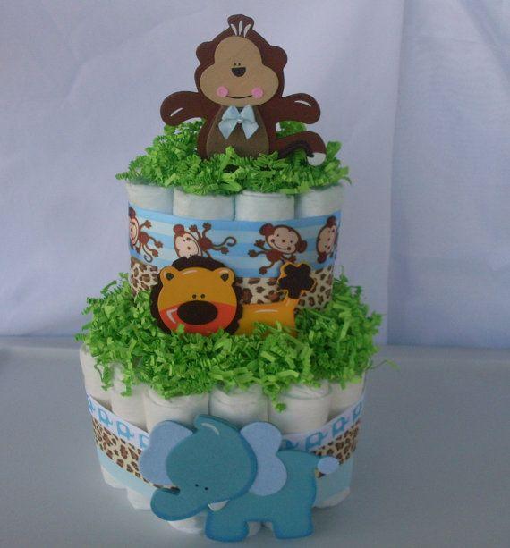 2 Tier Jungle Diaper Cake, Animal Diaper Cake,Jungle Diaper Cake,Safari Baby Shower Centerpiece,Baby Boy Diaper Cake,Boy Baby Shower