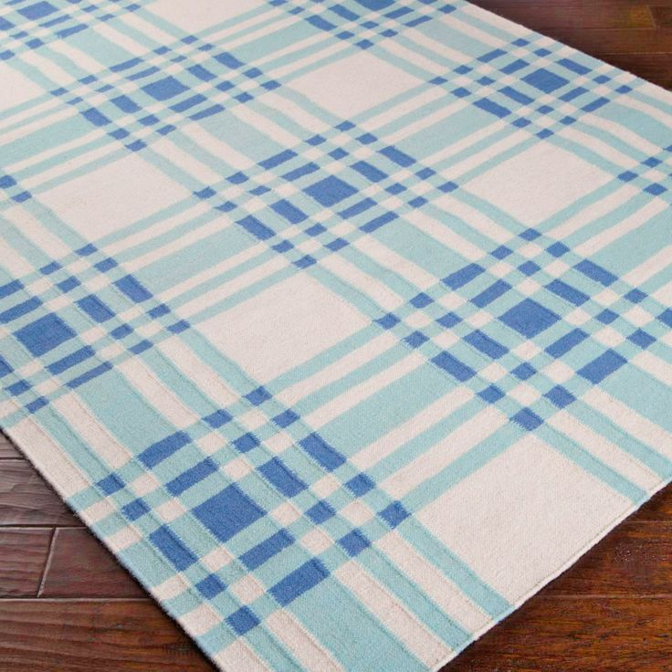 Summer Plaid Dhurrie Rug -Blue, Pink Or Green From Shades