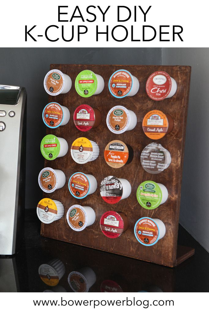I use this thing every single day!  It's so easy to build out of two pieces of wood!    Wooden K-Cup Holder DIY