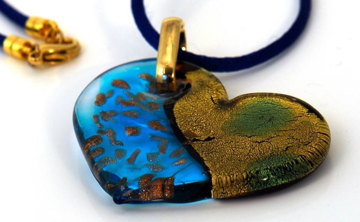 Aqua and Gold Handmade Murano Glass from Italy Pendant necklace.