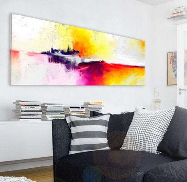 Vibrant canvas art and simple, black&white interiors are great together! Try this look on your own with bimago abstract art collection