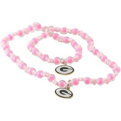 Green Bay Packers Girls Pink Beaded Team Logo Bracelet & Necklace ...