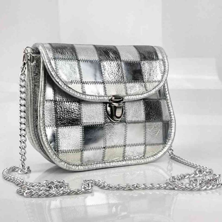 Handmade Silver Leather Patchwork Bag