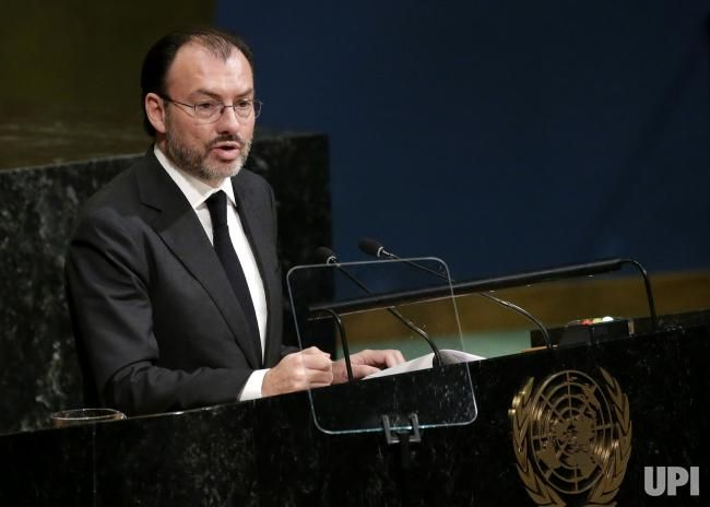 Mexico Minister of Foreign Affairs Luis Videgaray Caso speaks at the 72nd General Debate at the United Nations General Assembly at United…