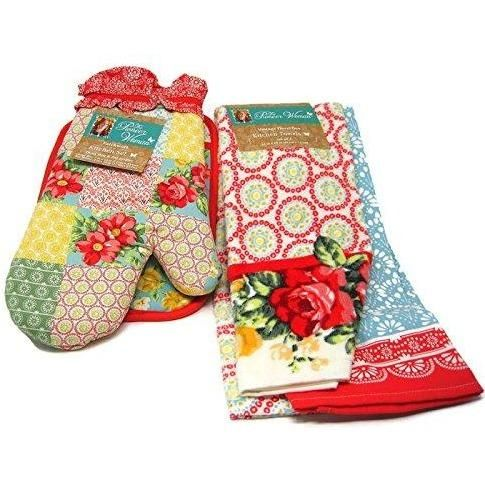 Pioneer Woman Patchwork Kitchen Set Oven Mitt, Pot Holder and Vintage Floral Geo Kitchen Towels