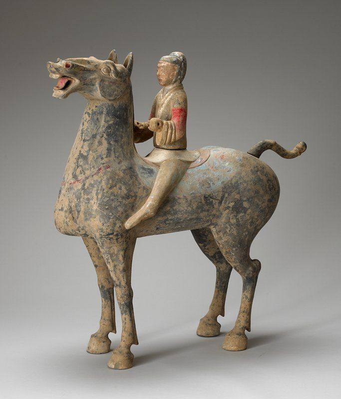 Horse and Rider. This is another Chinese ceramic piece. c. 180 BCE