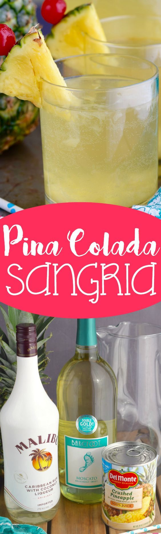 This Pina Colada Sangria literally takes less than five minutes to throw together, but is so insanely delicious that you'll want to make at least two batches, since your party guests will go nuts for it.: