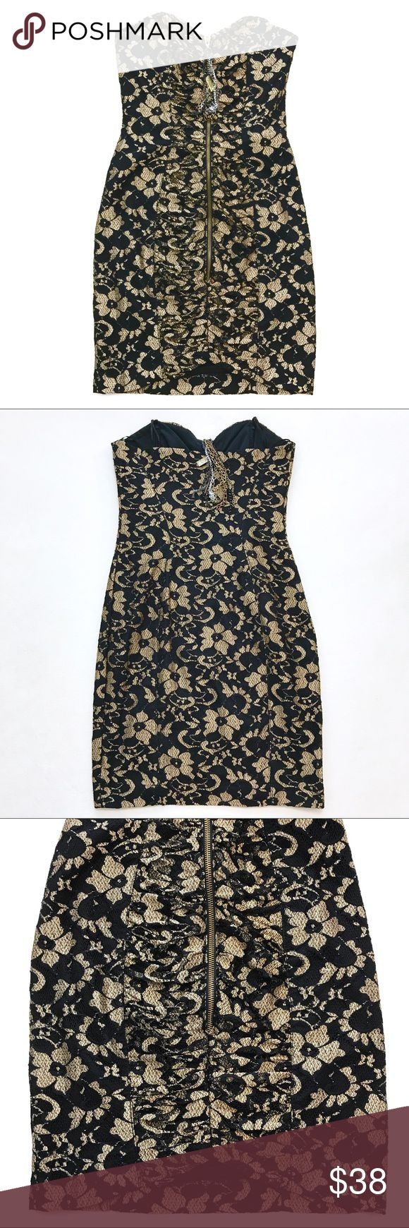 """River Island Lace Strapless Dress Worn Once. Still in very good condition. Zip Front. Black& gold lace. Lined. 🇬🇧 Brand UK size 6. US Size 2. Lay Flat Measurement; pit to pit-14"""". Waist-12.5"""". Length Approx-27"""". Has a boning in front & sides. No Trades. No Modeling. No low ball offers River Island Dresses Strapless"""