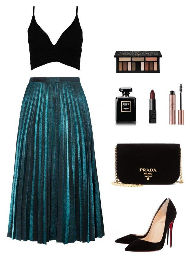 """Pleated skirt"" by katka-klimova ❤ liked on Polyvore featuring Boohoo, Christian Louboutin, Prada, Chanel, NARS Cosmetics and Kat Von D"