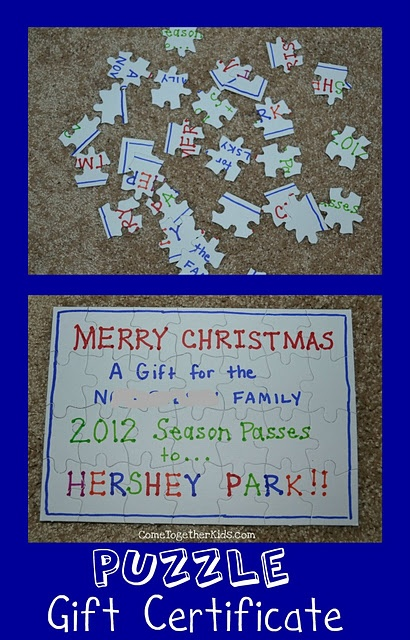 Turn your gift certificate into a jigsaw puzzle
