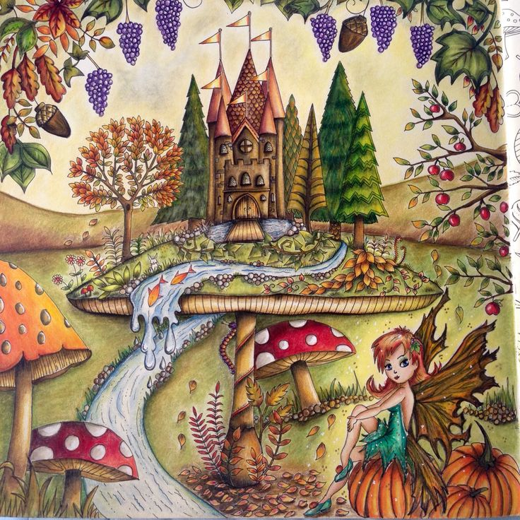 Toadstool And Stream To This Picture Again From The Enchanted Forest By Used Polychromos Pencils Autumn Feel For September Colouring