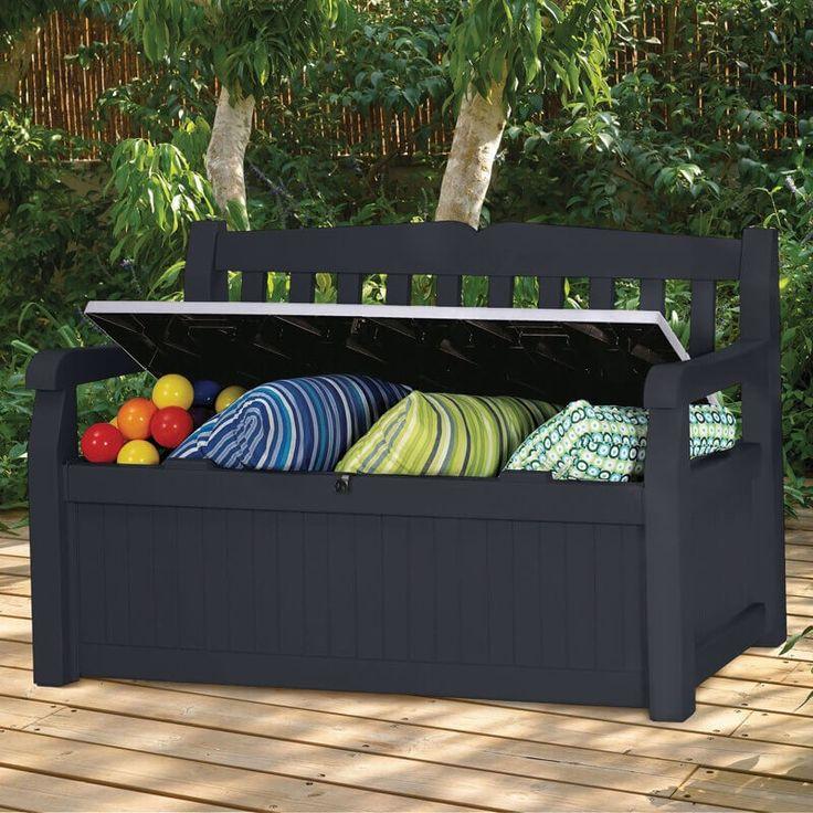 Een bank en opbergbox is één. Dat is de Keter Eden. Deze kunststof opbergbank kan bijna niet missen in uw tuin. Met een inhoud van 265 liter kunt u er ook nog eens veel spullen in kwijt.