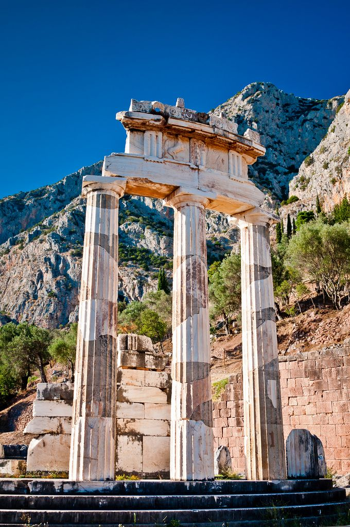 The Tholos at the base of Mount Parnassus, Delphi, Greece