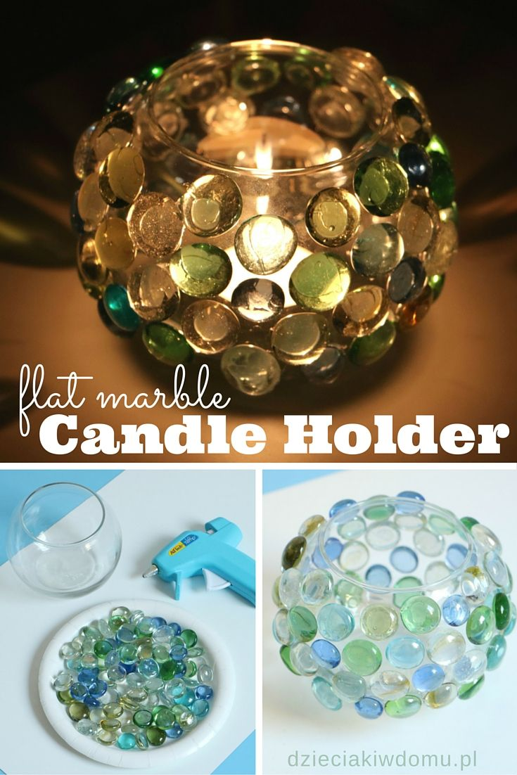 Flat glass marbles crafts - Flat Marble Candle Holder Craft More