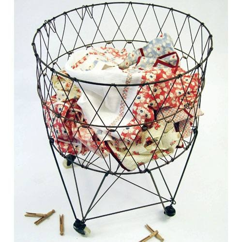 11 best images about vintage metal wire laundry baskets on pinterest tea towels vintage - Collapsible laundry basket with wheels ...