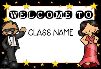 6 EDITABLE Hollywood Theme Welcome Signs - Classroom Decor