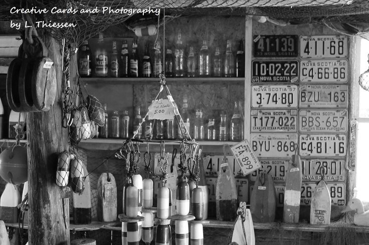 Peggy's Plates. Love this one in black and white as well as colour. This shop was full of authentic ropes, traps, and license plates! @ThiessenCards Creativecardsandphotography@yahoo.ca