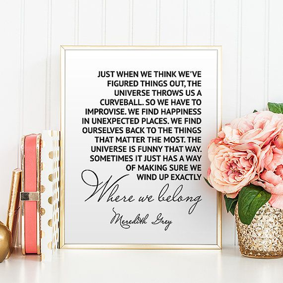 Greys Anatomy Print Meredith Grey Printable Quotes Instant