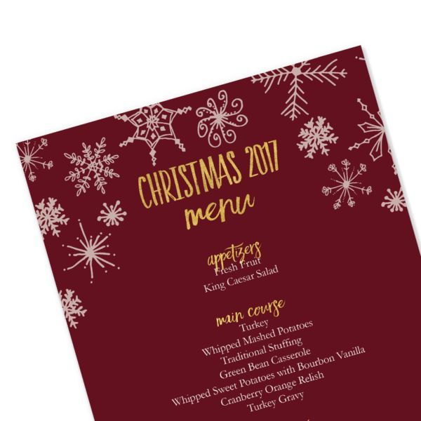Editable Christmas Menu Template | Snowflakes | Red and Gold