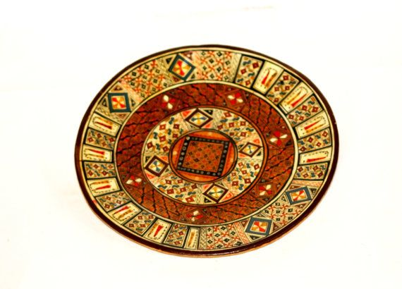 Peru Plate Pisac Peru Clay Plate Handpainted by AntiqueTalentArt