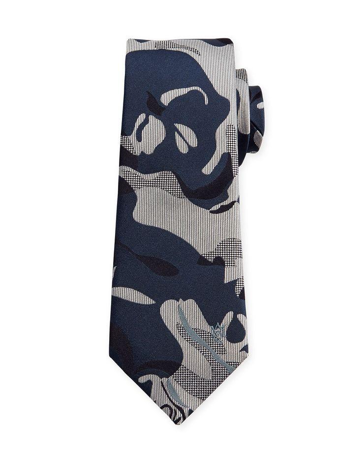 Camouflage Skull Silk Tie, Grey/Beige - Alexander McQueen