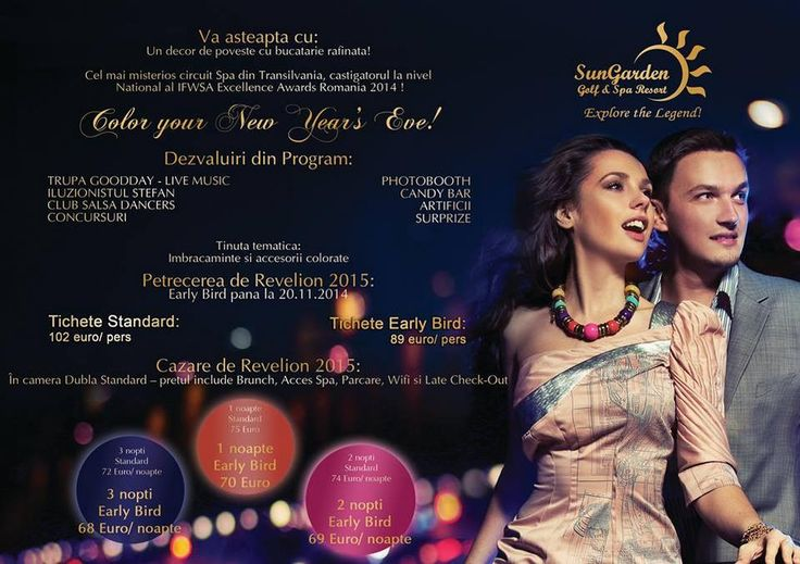 Book now your New Year's Eve! And have a night to remember! Details &Reservations: events@sungardenresort.ro/+40735888003 http://sungardenresort.ro/news-archive/149-color-your-new-year-s-eve-2015