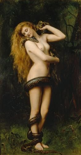 Lilith by John Collier. Lilith was said to be the wife that Adam had before Eve; she is a figure of terror, feared as a demon or vampire, and a night monster. She is also known as Lamia; Keats describes her as a serpent which assumed the shape of a beautiful woman 'palpitating snake ... of dazzling hue, vermillion spotted, golden, green and blue', and it is this image which seems to have captured Collier's imagination. The subject also attracted John William Waterhouse and the Symbolists.