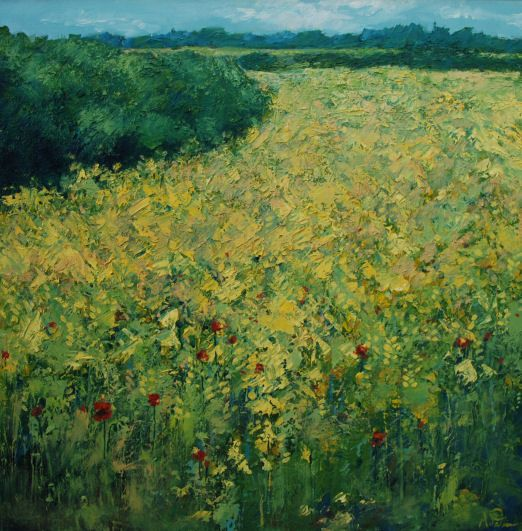 Summer Yellows. Anna Perlin. Oil on canvas. Oil seed rape field, hedgerow, landscape. www.annaperlin.com