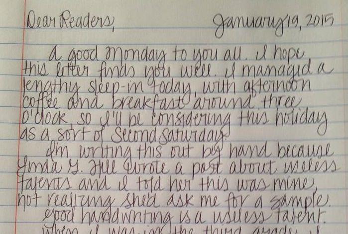 Good Handwriting is a Useless Talent | joeyfullystated